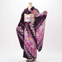 振袖 フルセット 花柄 Mサイズ 紫系 (中古 リユース 美品) 56254