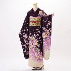 振袖 フルセット 花柄 Mサイズ 紫系 (中古 リユース 美品) 56178