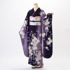 振袖 フルセット 花柄 Lサイズ 紫系 (中古 リユース 美品) 56225