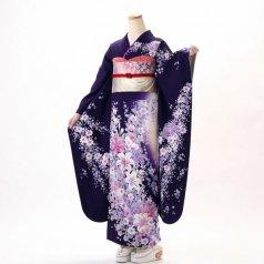 振袖 フルセット 花柄 Lサイズ 紫系 (中古 リユース 美品) 56310