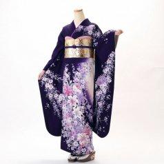 振袖 フルセット 花柄 Mサイズ 紫系 (中古 リユース 美品) 56310