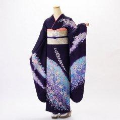 振袖 フルセット 花柄 Lサイズ 紫系 (中古 リユース 美品) 56220