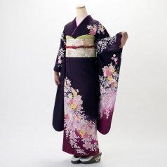 振袖 フルセット 花柄 Mサイズ 紫系 (中古 リユース 美品) 56168