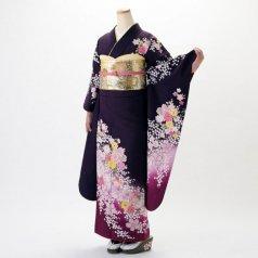 振袖 フルセット 花柄 Lサイズ 紫系 (中古 リユース 美品) 56168