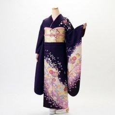 振袖 フルセット 毬柄 Lサイズ 紫系 (中古 リユース 美品) 54011