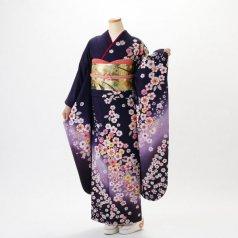 振袖 フルセット 花柄 Lサイズ 紫系 (中古 リユース 美品) 56198
