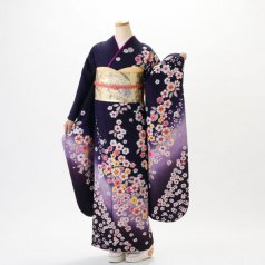 振袖 フルセット 花柄 Mサイズ 紫系 (中古 リユース 美品) 56198