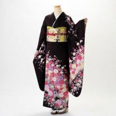 振袖 フルセット 花柄 Mサイズ 茶系 (中古 リユース 美品) 76394