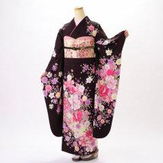 振袖 フルセット 花柄 Lサイズ 茶系 (中古 リユース 美品) 76582