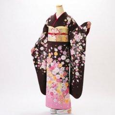 振袖 フルセット 花柄 Mサイズ 茶系 (中古 リユース 美品) 76332