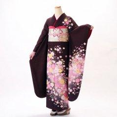 振袖 フルセット 花柄 Lサイズ 茶系 (中古 リユース 美品) 76276