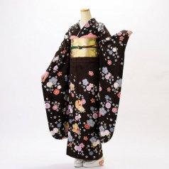 振袖 フルセット 花柄 Lサイズ 茶系 (中古 リユース 美品) 76614