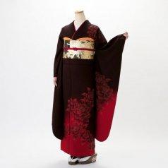 振袖 フルセット モダン柄 Mサイズ 茶系 (中古 リユース 美品) 75035
