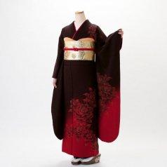 振袖 フルセット モダン柄 Lサイズ 茶系 (中古 リユース 美品) 75035