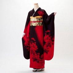 振袖 フルセット モダン柄 Lサイズ 茶系 (中古 リユース 美品) 75043