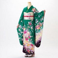 振袖 フルセット 花柄 Mサイズ グリーン系 (中古 リユース 美品) 96999