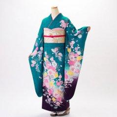 振袖 フルセット 花柄 Mサイズ グリーン系 (中古 リユース 美品) 96316