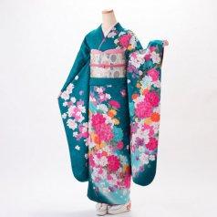 振袖 フルセット 花柄 Lサイズ グリーン系 (中古 リユース 美品) 96406