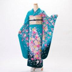 振袖 フルセット 花柄 Mサイズ グリーン系 (中古 リユース 美品) 96574