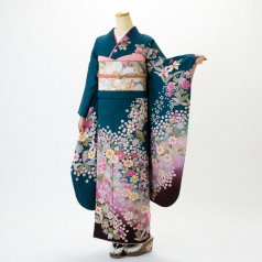 振袖 フルセット 花柄 Mサイズ グリーン系 (中古 リユース 美品) 96196