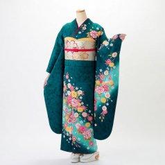 振袖 フルセット 花柄 Mサイズ グリーン系 (中古 リユース 美品) 96286