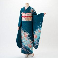 振袖 フルセット 花柄 Lサイズ グリーン系 (中古 リユース 美品) 96137