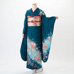 振袖 フルセット 花柄 Mサイズ グリーン系 (中古 リユース 美品) 96137