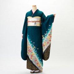 振袖 フルセット 花柄 Mサイズ グリーン系 (中古 リユース 美品) 96030