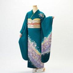 振袖 フルセット 花柄 Mサイズ グリーン系 (中古 リユース 美品) 96122
