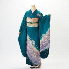 振袖 フルセット 花柄 Lサイズ グリーン系 (中古 リユース 美品) 96122