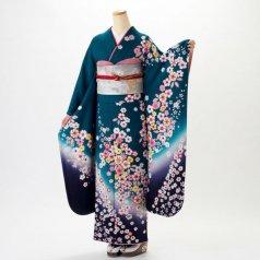 振袖 フルセット 花柄 Mサイズ グリーン系 (中古 リユース 美品) 96198