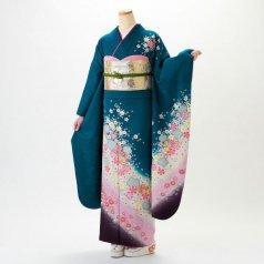 振袖 フルセット 毬柄 Lサイズ グリーン系 (中古 リユース 美品) 94014