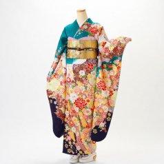 振袖 フルセット 古典柄 LLサイズ 青・紺系 (中古 リユース 美品) 20999