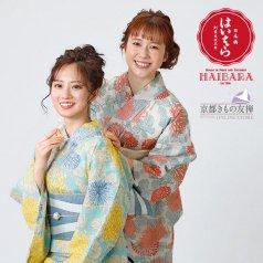 浴衣 榛原 菊 水色 生成 単品 H-3/H-4 ゆかた 浴衣単品 HAIBARA(はいばら)