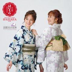 浴衣 榛原 牡丹 紺 藤色 単品 H-5/H-6 ゆかた 浴衣単品 HAIBARA(はいばら)