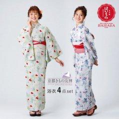 浴衣 榛原 矢車草 白緑 藍白 コーディネート一式セットH-11/H-12 ゆかた 浴衣セット HAIBARA(はいばら)