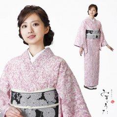 小紋 洗える着物 みすゞうた こだまでしょうか 紫 ピンク ラベンダー 小紋単品
