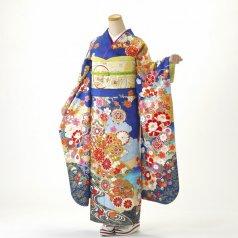 振袖 フルセット 古典柄 Lサイズ 青・紺系 (中古 リユース 美品) 20999