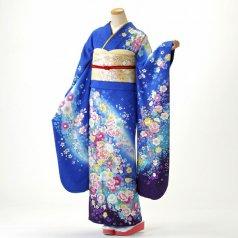 振袖 フルセット 古典柄 Mサイズ 青・紺系 (中古 リユース 美品) 20401
