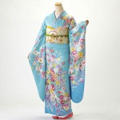 振袖 フルセット 古典柄 Lサイズ 青・紺系 (中古 リユース 美品) 20910