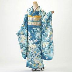 振袖 フルセット 花柄 Mサイズ 青・紺系 (中古 リユース 美品) 26905