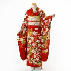 振袖 フルセット 古典柄 Lサイズ 赤・ワイン系 (中古 リユース 美品) 10906