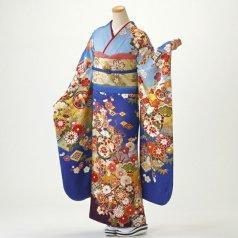 振袖 フルセット 古典柄 Lサイズ 青・紺系 (中古 リユース 美品) 20575