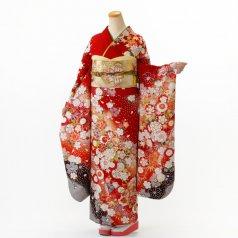 振袖 フルセット 花柄 Mサイズ 赤・ワイン系 (中古 リユース 美品) 16682