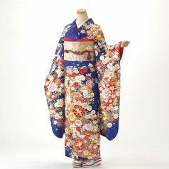振袖 フルセット 古典柄 Mサイズ 青・紺系 (中古 リユース 美品) 20896