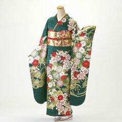 振袖 フルセット 花柄 Lサイズ グリーン系 (中古 リユース 美品) 96740