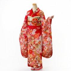 振袖 フルセット 花柄 Mサイズ 赤・ワイン系 (中古 リユース 美品) 16999