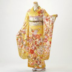 振袖 フルセット 花柄 Mサイズ からし・黄系 (中古 リユース 美品) 36999