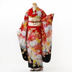 振袖 フルセット モダン柄 Lサイズ 赤・ワイン系 (中古 リユース 美品) 15057