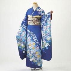 振袖 フルセット 花柄 Lサイズ 青・紺系 (中古 リユース 美品) 26973